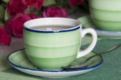 Cup of tea. A cup of tea with rosa Royalty Free Stock Image