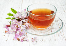Cup of tea and acacia flowers Royalty Free Stock Photography