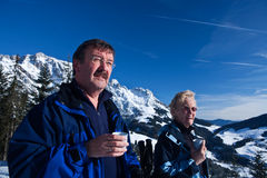Cup of tea in the alps royalty free stock photos