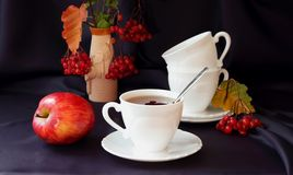 Cup of tea, apple and berries Stock Photo
