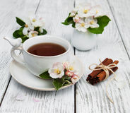 Cup of tea with apple blossoms Stock Photos