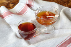 Cup of tea and apple jam dessert or confiture Stock Photos