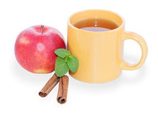 Cup of tea with apple, mint and cinnamon isolated Royalty Free Stock Image