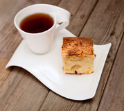 Cup of tea with apple pie Royalty Free Stock Images