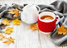 Cup of tea and autumn leaves stock photos