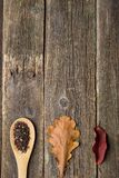 autumn leaves on wooden background stock image