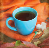Cup of tea with autumn leaves of wild grapes Stock Photography