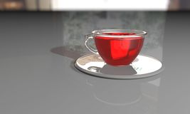 Cup tea background composition realistic. Cup tea  3d illustration background Stock Images