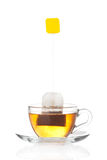 Cup of tea with bag (blank label) inside Royalty Free Stock Images