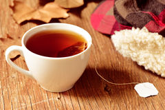 A cup with a tea bag Stock Photo