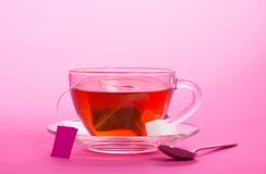 Cup with tea bag on saucer Stock Photography