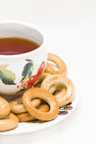 Cup of tea with bagels Royalty Free Stock Image