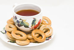 Cup of tea with bagels Stock Photo