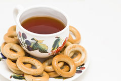 Cup of tea with bagels Stock Image