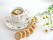 Cup of tea. With bagels Royalty Free Stock Photos
