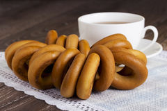 Cup of tea and bagels Royalty Free Stock Photography