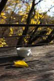 Cup of tea on balcony with nature view. Cup of autumn tea. stock photos