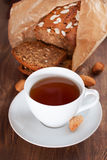 Cup of tea with banana bread Royalty Free Stock Image