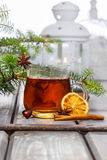 Cup of tea in beautiful christmas setting Stock Photo