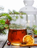 Cup of tea in beautiful christmas setting. Stock Photography