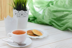 Cup of tea on a beautifully decorated table Stock Photography