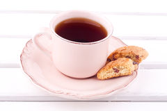 A cup of tea and biscotti Royalty Free Stock Photo