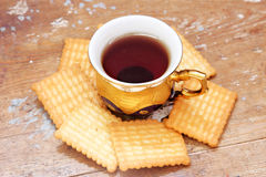 Cup of tea with biscuit Royalty Free Stock Images