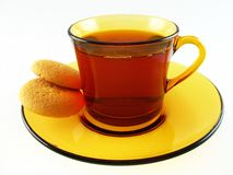 Cup of tea and biscuits. On the white Royalty Free Stock Images