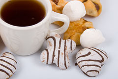 Cup of tea and biscuits Stock Photography