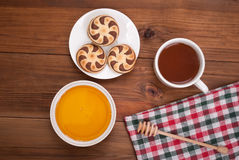 Cup of tea biscuits and honey Royalty Free Stock Photo