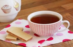Cup of tea. Cup of tea, biscuits and teakettle Stock Photo