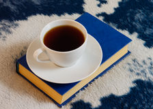 Cup of tea and book on the blanket Royalty Free Stock Images