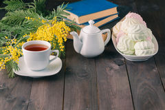 Cup of tea with book and sweets Royalty Free Stock Image