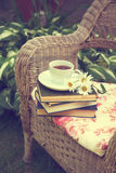 Cup of tea with a books and chamomiles on a chair stock image