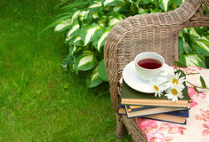 Cup of tea with a books and chamomiles on a chair stock images