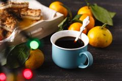 Cup of tea and branch with Christmas lights on background. Stock Images