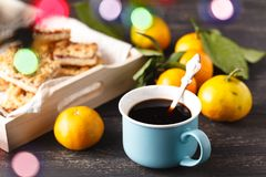 Cup of tea and branch with Christmas lights on background. Stock Photos