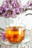 Cup of tea and branch of heather Royalty Free Stock Image
