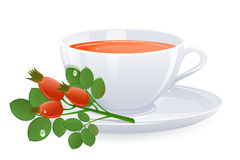 Cup of tea with branch of rose-hips Stock Image