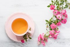 Cup of tea and branch of roses. Royalty Free Stock Photo