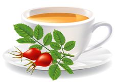 A cup of tea and a branch of wild rose. Vector illustration Vector Illustration