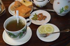 Cup of tea. Breakfast cup of tea lemon sugar Stock Photo