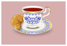 A cup of tea and a bun. Vector illustration, hand drawing Stock Photos