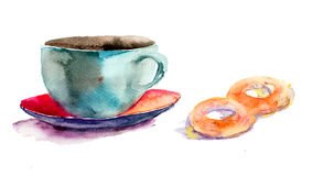 Cup of tea with buns. Watercolor illustration Stock Photo