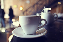 Cup of tea in cafe Royalty Free Stock Images
