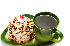 Cup of tea and cake. Royalty Free Stock Photography