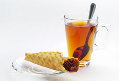 Cup of tea and cake Stock Image