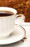Cup of Tea and Cake. Cup of Black Tea and Cake Royalty Free Stock Images