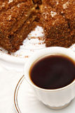 Cup of Tea and Cake. Cup of Black Tea and Cake Royalty Free Stock Image