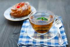 Cup of tea and cake Royalty Free Stock Image